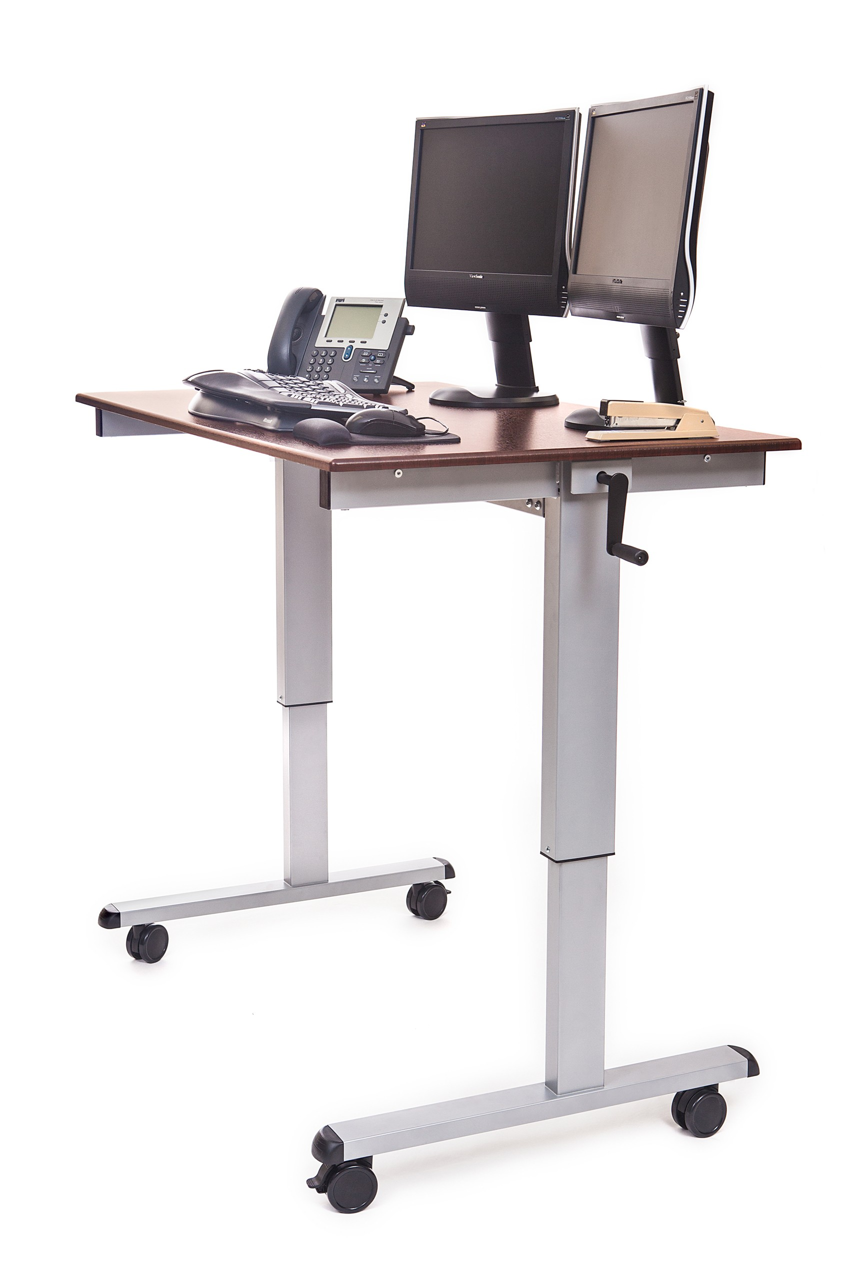 desk mobile stand height cart mi computer adjustable up presentation it work station mount rolling