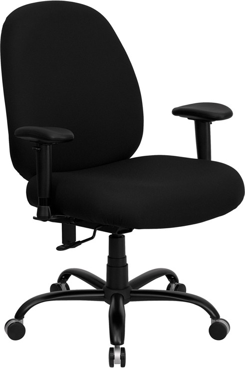 Capacity And Tall Fabric Office Chair With Extra Wide Seat Optional Arms