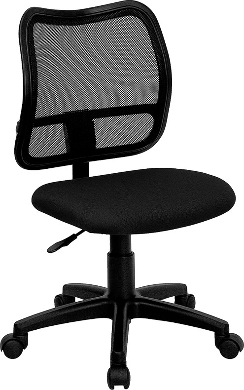 Mid Back Mesh Chair Or Stool With Black Fabric Seat   3 Color Options