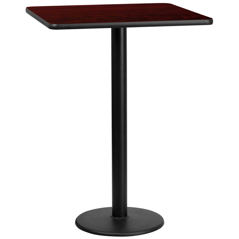 Square And Rectangular Mahogany Laminate Table Top With Round Bar Height  Table Bases   Multiple Sizes Available