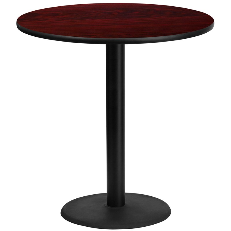 Round Mahogany Laminate Table Tops With Round Bar Height Table Bases   4  Sizes Available