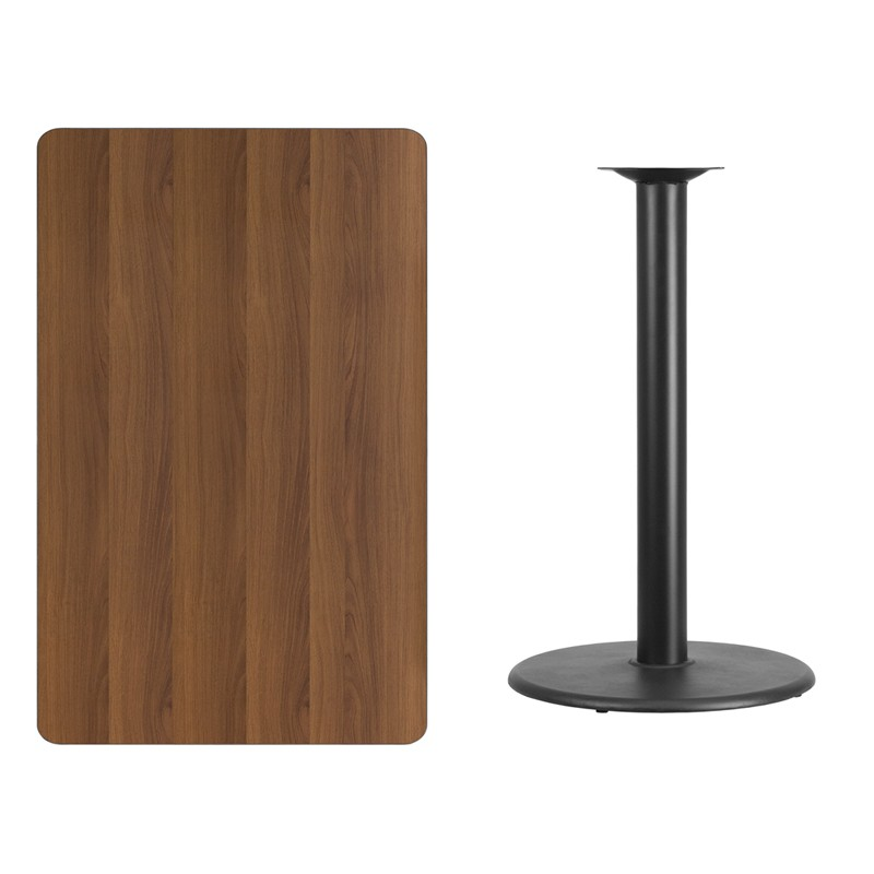 Square And Rectangular Walnut Laminate Table Tops With Round Bar Height  Table Bases