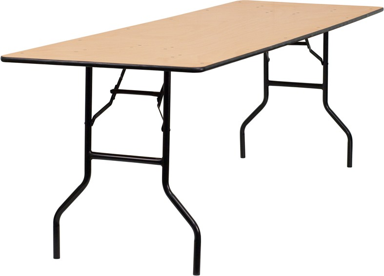 Rectangular Wood Folding Banquet Tables With Clear Coated Finished Top   3  Sizes Available