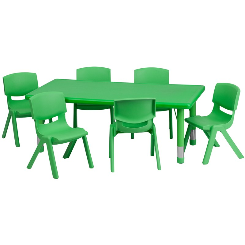 24u0027u0027W X 48u0027u0027L Adjustable Rectangular Plastic Activity Table Sets With 6  School Stack Chairs   3 Colors Available