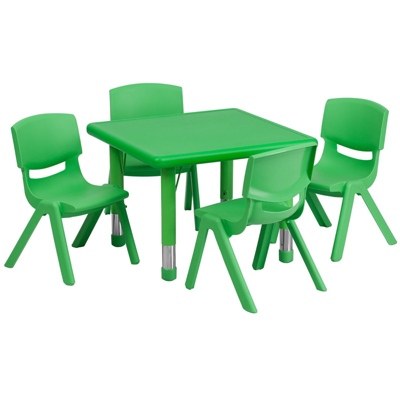 Elegant 24u0027u0027 Square Adjustable Plastic Activity Table Sets With 4 School Stack  Chairs   3 Colors Available