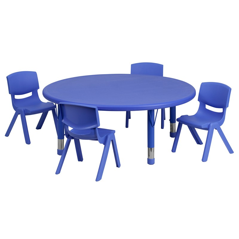 45u0027u0027 Round Adjustable Plastic Activity Table Sets With 4 School Stack  Chairs   3 Colors Available