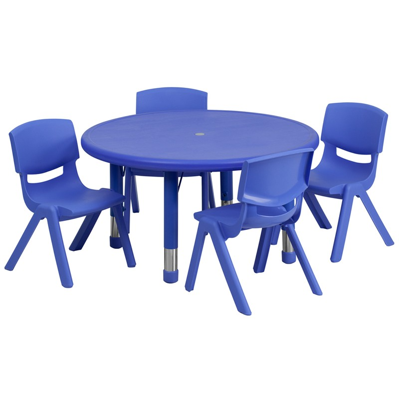 33u0027u0027 Round Adjustable Plastic Activity Table Set with 4 School Stack Chairs - 3 Colors Available  sc 1 st  School Furniture Depot & 33u0027u0027 Round Adjustable Red Plastic Activity Table Set with 4 School ...