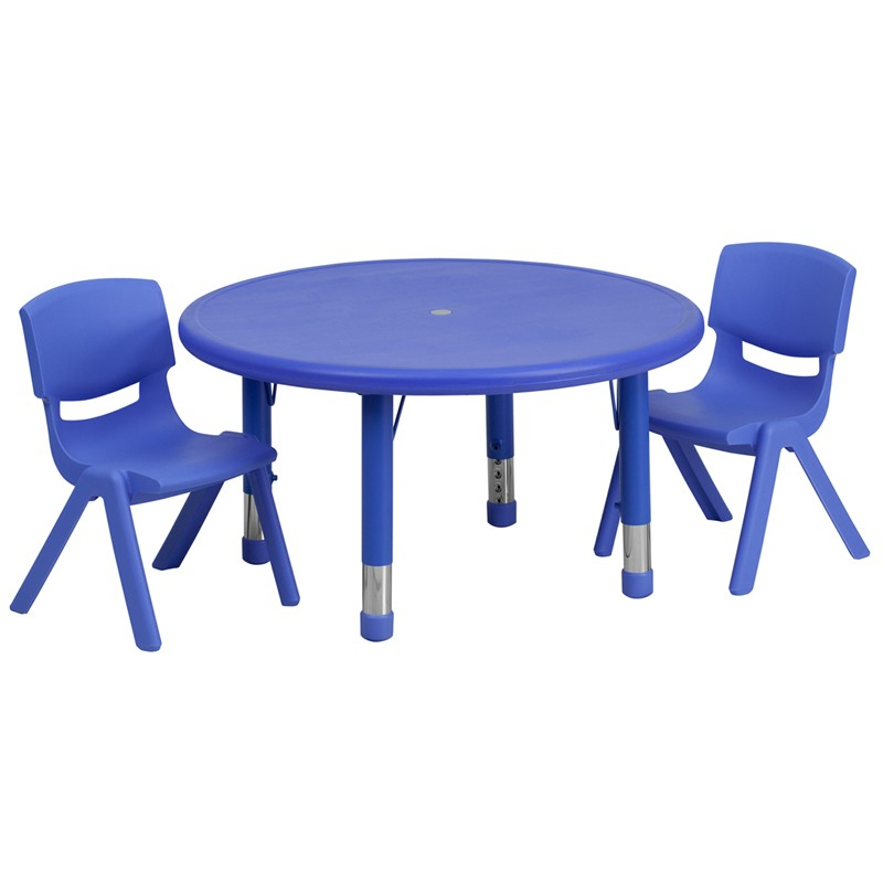 33\u0027\u0027 Round Adjustable Plastic Activity Table Sets with 2 School Stack Chairs - 3 Colors Available  sc 1 st  School Furniture Depot & 33\u0027\u0027 Round Adjustable Red Plastic Activity Table Set with 2 School ...