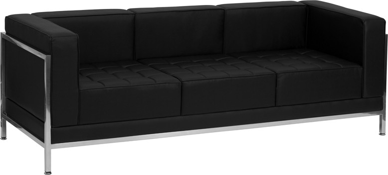 Signature Imagination Series Contemporary Leather Sofa With Encasing Frame    2 Color Options