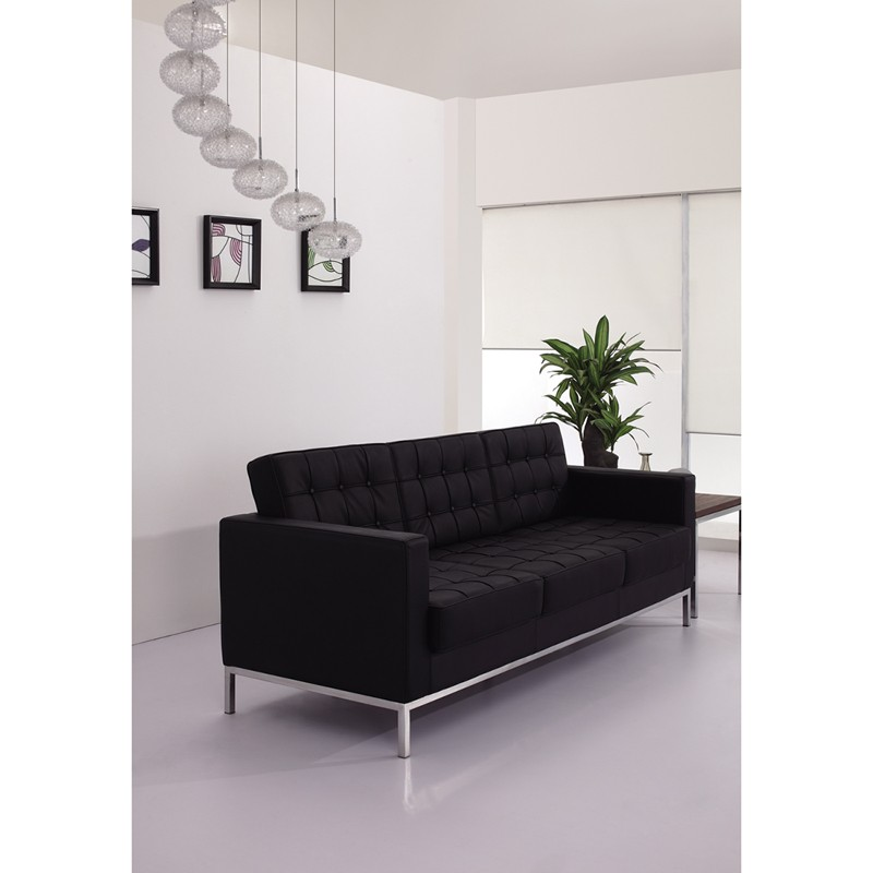 Signature Lacey Series Contemporary Black Leather Sofa With Stainless Steel Frame