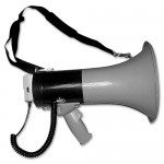 Tatco Megaphone, 800Yard Range, Adjustable Volume, Gray/Blue
