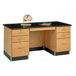 "Solid Oak Wood Teachers Work Desk, Plastic Laminate Top, 60""W x 30""H x 30""D"