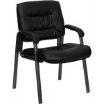 Black Leather Executive Side Chair with Titanium Frame Finish
