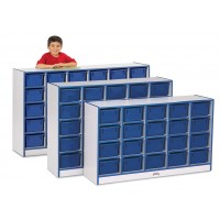 Jonti-Craft Rainbow Accents 30 Cubbie-Tray Mobile Storage - With or Without Trays in Multiple Colors