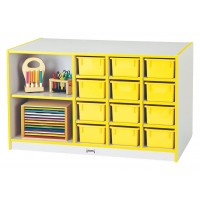 Jonti-Craft Rainbow Accents Mobile Storage Island - With or Without Trays in Multiple Colors