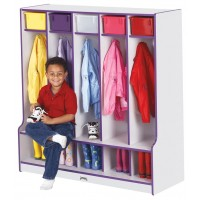 Jonti-Craft Rainbow Accents 5 Section Coat Locker with Step - Multiple Edge Colors