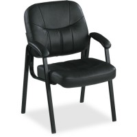Lorell Guest Chair, Black Leather