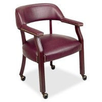 """Lorell Captain Chair, with Casters, 26"""" x 24"""" x 30¾"""", Burgundy"""