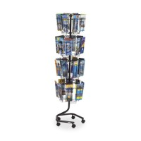 "Safco Brochure Display Rack, 4½"" x 1"" Deep Pockets, 15"" x 15"" x 60"", Charcoal"