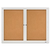Quartet Enclosed Cork 2-Door Framed Bulletin Brd