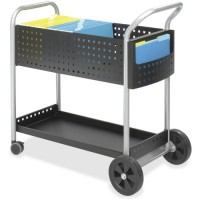 "Safco Scoot Mail Cart,120 Folders, 22½"" x 39½"" x 40¾"", Black/Silver"
