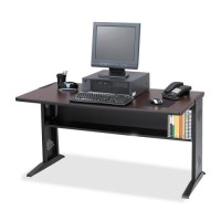 "Safco Computer Desk, Reversible Top, 47½"" x 28"" x 30"", Mahogany/Medium Oak"