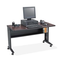 Safco Mobile Computer Desk, Mahogany/Medium Oak - 2 Sizes