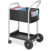 "Safco Mail Cart, Side Pocket, 75 Folders, 22½"" x 27½"" x 40½"", Silver/Black"