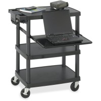 "Safco Multimedia Cart, Adjustable, Mobile, 27¾"" x 18¾"" x 34¾"", Black"
