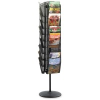 "Safco Onyx Magazine Stand, Rotating, 30 Pockets, 16½"" x 16½"" x 66"", Black"