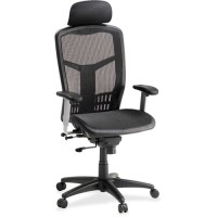 "Lorell High Back Chair, Mesh, 28½"" x 28½"" x 51"", Black"
