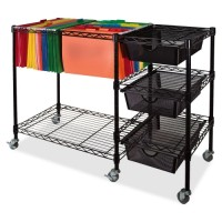 "Vertiflex Mobile Cart, with 3 Drawers, 38"" x 15½"" x 28"", Black"