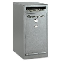 "Sentry Depository Safe, Dual Heads Key Lock,8"" x 10³⁄₁₀"" x 12"",Gray"
