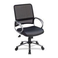 "Lorell Mesh Back Task Chair, Leather Seat, 25"" x 25"" x 42"", Black"