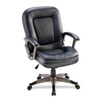 Lorell Midback Chair, Leather, Black