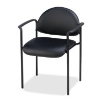 "Lorell Reception Guest Chair, 23¾"" x 23½"" x 30½"", Black Vinyl"