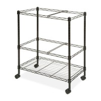 "Lorell Mobile Filing Cart, 2-Tier, Letter/Legal, 26"" x 12½"" x 30"", Black"