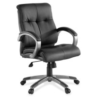 """Lorell Executive Chair, Leather, LowBack, 27"""" x 32"""" x 41"""", Black/Silver"""