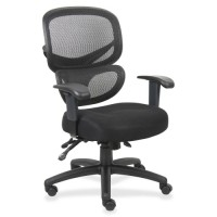 Lorell MeshBack Executive Chair, Fabric Seat, Black