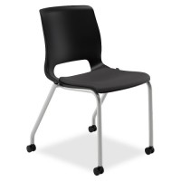 HON Motivate 4-Leg Stack Chair, Onyx/Black - Purchase in quantities of 2