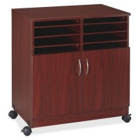 Lorell Mobile Machine Stand with Sorter, Mahogany