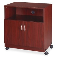 "Lorell Mobile Machine Stand with Shelf, 28"" x 19¾"" x 30½"", Mahogany"