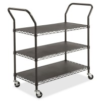 "Safco 3 Shelf Wire Utility Cart, 43¾"" x 19¼"" x 40½', Black"