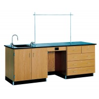 Solid Oak Wood Instructors Desk, with Sink, Epoxy Resin Top, 8' W
