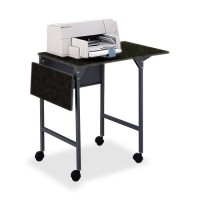 "Safco Machine Stand with Drop Leaves, 20"" to 36"" x 18"" x 26¾"", Black/Black"