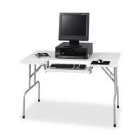 "Safco Folding Computer Table, 47½"" x 29¾"" x 28¾"", Light Gray"
