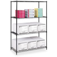 Safco 4 Shelves Starter Unit, 4 Posts, Black - Multiple options