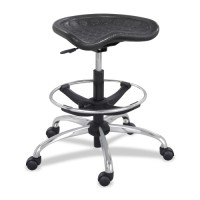 "Safco Height Adjustable Stool, 26"" x 26"" x 27"" to 34"", Black"