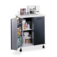 "Safco Refreshment Cart, 2 Door, 29½"" x 22¾"" x 33¼"", Black/White"