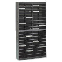 "Safco Literature Organizer, 72 Compartments, 37½"" x 12¾"" x 71"", Black"
